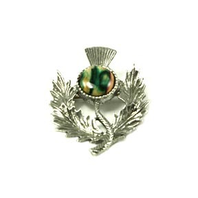 Scottish Thistle Brooch with Natural Heathergem